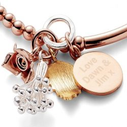 Personalised Bouquet Rose Gold Bracelet Pendant and Flowers
